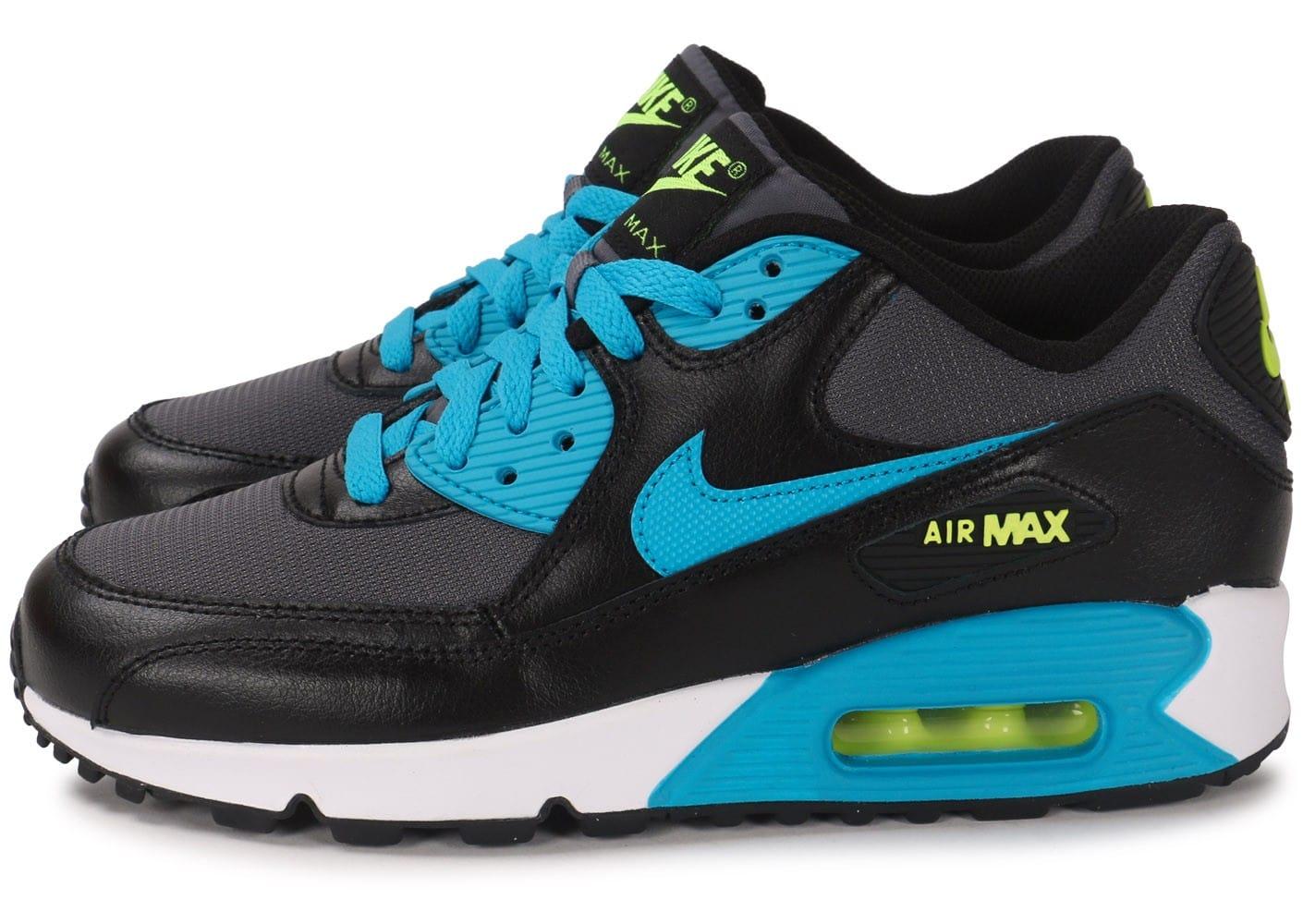 premium selection c37f9 4a9ee air max 90 junior noir et bleu 2